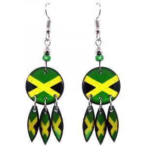 Round-shaped Jamaican flag graphic acrylic dangle earrings with long matching dangles and beaded metal hooks in Jamaican colors.
