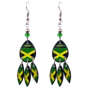 """Teardrop-shaped """"Jamaica"""" graphic acrylic dangle earrings with long matching dangles and beaded metal hooks in Jamaican flag colors."""