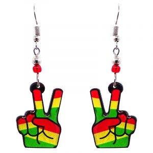 Peace sign hands acrylic dangle earrings with beaded metal hooks in striped Rasta colors.
