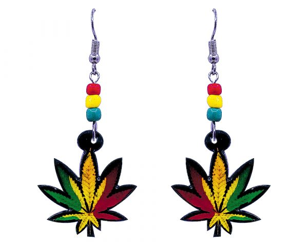 Rasta-colored cannabis pot leaf acrylic dangle earrings with beaded metal hooks in red, green, and golden yellow color combination.