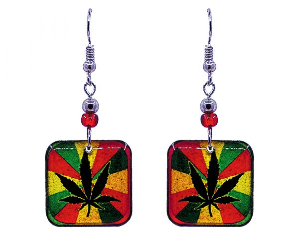 Square-shaped cannabis pot leaf graphic acrylic dangle earrings with beaded metal hooks in striped Rasta colors.