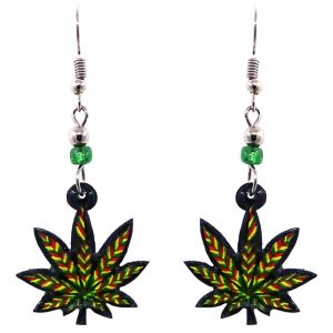 Rasta-colored cannabis pot leaf acrylic dangle earrings with beaded metal hooks in red, green, and yellow color combination.