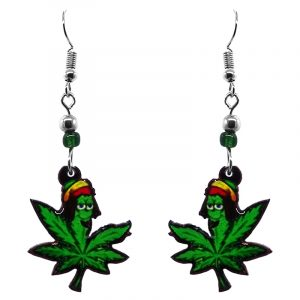 Cannabis pot leaf Rasta dude acrylic dangle earrings with beaded metal hooks in green, red, black, and yellow color combination.