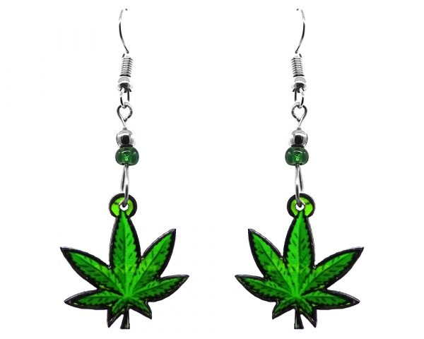 Cannabis pot leaf acrylic dangle earrings with beaded metal hooks in lime green and green color combination.