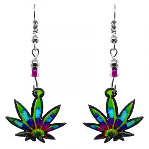 Multicolored cannabis pot leaf acrylic dangle earrings with beaded metal hooks in lime green, turquoise, blue, and purple color combination.