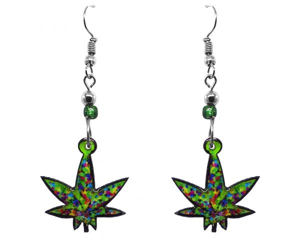 Multicolored cannabis pot leaf acrylic dangle earrings with beaded metal hooks in lime green and multicolored color combination.