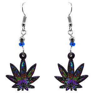 Multicolored cannabis pot leaf acrylic dangle earrings with beaded metal hooks in purple and multicolored color combination.