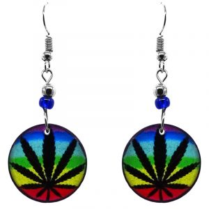 Round-shaped rainbow cannabis pot leaf graphic acrylic dangle earrings with beaded metal hooks in black and multicolored color combination.