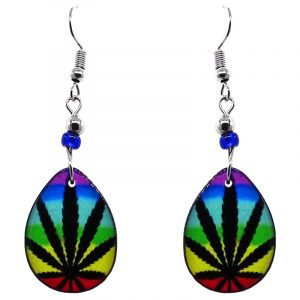 Teardrop-shaped rainbow cannabis pot leaf graphic acrylic dangle earrings with beaded metal hooks in black and multicolored color combination.
