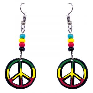 Peace sign symbol acrylic dangle earrings with beaded metal hooks in striped Rasta colors.
