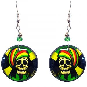 Round-shaped Rasta dread skull graphic acrylic dangle earrings with beaded metal hooks in Jamaican flag colors.
