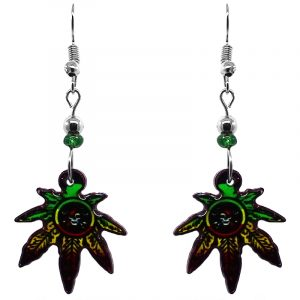 Upside down pirate skull cannabis pot leaf acrylic dangle earrings with beaded metal hooks in Rasta colors.