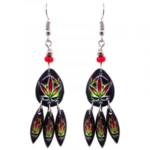 Teardrop-shaped psychedelic cannabis pot leaf graphic acrylic dangle earrings with long matching dangles and beaded metal hooks in Rasta colors.