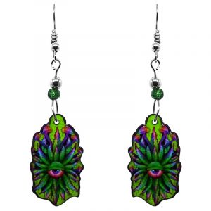 Psychedelic cannabis pot leaf mushroom eye acrylic dangle earrings with beaded metal hooks in green and multicolored color combination.