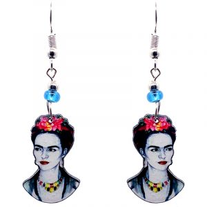 Handmade Frida Kahlo face earrings with acrylic, seed beads, and metal hooks in white, gray, black, and hot pink color combination.