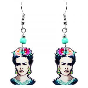Handmade Frida Kahlo face earrings with acrylic, seed beads, and metal hooks in white, gray, black, mint, and hot pink color combination.