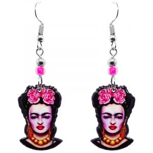 Handmade Frida Kahlo face earrings with acrylic, seed beads, and metal hooks in hot pink, light pink, black, and gold color combination.