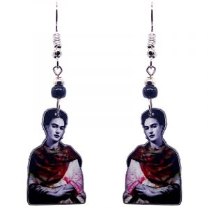 Handmade Frida Kahlo portrait earrings with acrylic, seed beads, and metal hooks in black, white, gray, and red color combination.