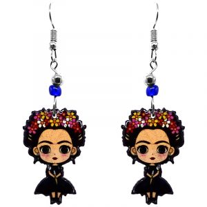 Handmade gothic Frida Kahlo cartoon doll earrings with acrylic, seed beads, and metal hooks in black, peach, red, and pink color combination.