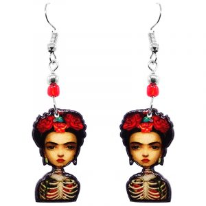 Handmade abstract Frida Kahlo earrings with acrylic, seed beads, and metal hooks in peach, red, beige, and black color combination.