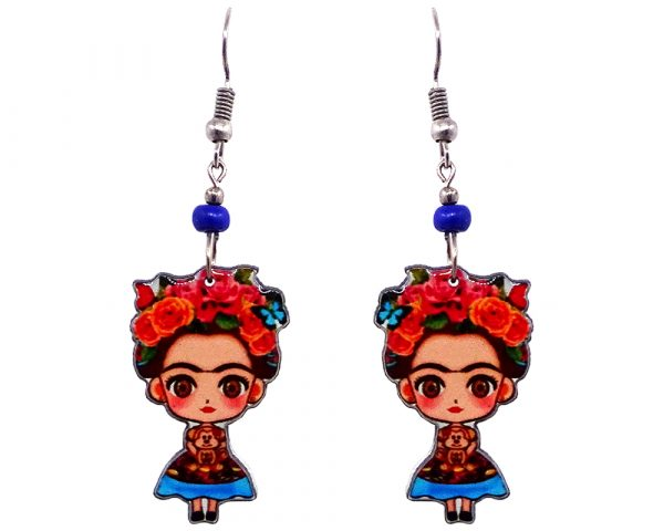 Handmade Frida Kahlo cartoon doll earrings with acrylic, seed beads, and metal hooks in peach, light blue, orange, red, and black color combination.