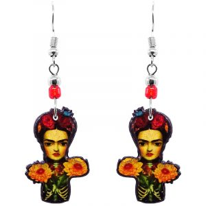 Handmade abstract Frida Kahlo earrings with acrylic, seed beads, and metal hooks in gold, orange, red, and black color combination.