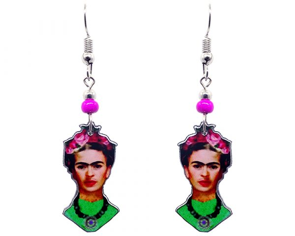 Handmade Frida Kahlo face earrings with acrylic, seed beads, and metal hooks in lime green, peach, black, and hot pink color combination.