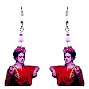 Handmade Frida Kahlo portrait earrings with acrylic, seed beads, and metal hooks in hot pink, red, light pink, and black color combination.