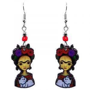 Handmade abstract Frida Kahlo earrings with acrylic, seed beads, and metal hooks in gold, black, red, purple, and white color combination.