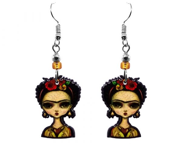 Handmade abstract Frida Kahlo earrings with acrylic, seed beads, and metal hooks in beige, red, gold, and black color combination.
