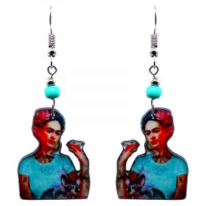 Handmade Frida Kahlo cat portrait earrings with acrylic, seed beads, and metal hooks in mint, peach, orange, hot pink, and red color combination.