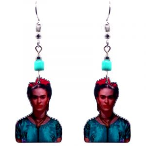 Handmade Frida Kahlo portrait earrings with acrylic, seed beads, and metal hooks in mint, teal green, hot pink, beige, and dark orange color combination.
