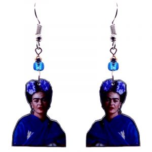 Handmade Frida Kahlo portrait earrings with acrylic, seed beads, and metal hooks in indigo purple, blue, beige, and black color combination.