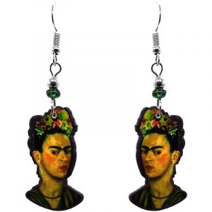 Handmade Frida Kahlo face earrings with acrylic, seed beads, and metal hooks in olive green, golden, peach, and black color combination.