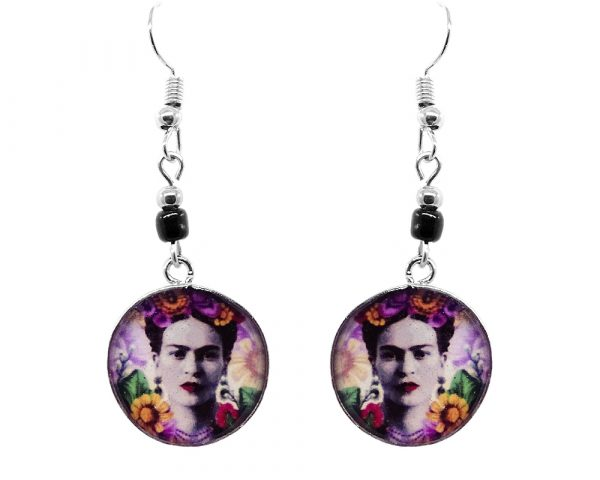 Handmade round silver floral Frida Kahlo earrings with acrylic, seed beads, and metal hooks in gray and multicolored color combination.