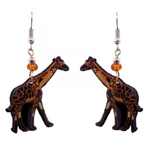 Tribal pattern giraffe acrylic dangle earrings with beaded metal hooks in golden yellow, black, and beige color combination.