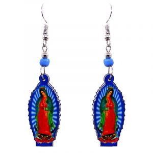 Virgin Mary acrylic dangle earrings with beaded metal hooks in blue, green, and red color combination.