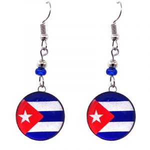 Round-shaped Cuban flag graphic acrylic dangle earrings with silver metal setting and beaded metal hooks.