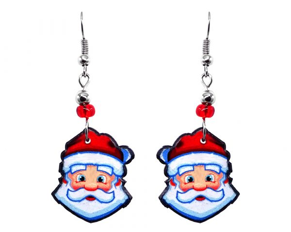 Christmas holiday themed Santa Claus face acrylic dangle earrings with beaded metal hooks in red, white, and peach color combination.