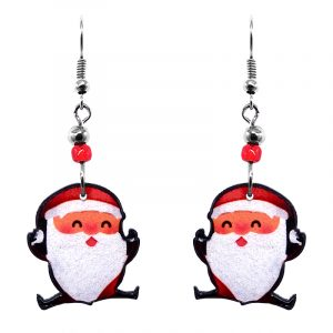 Christmas holiday themed jumping Santa Claus acrylic dangle earrings with beaded metal hooks in red, white, and peach color combination.