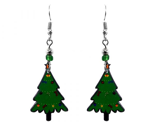 Christmas holiday themed tree acrylic dangle earrings with beaded metal hooks in green color.