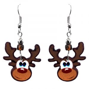 Christmas holiday themed Rudolph reindeer acrylic dangle earrings with beaded metal hooks. in brown, white, and red color combination.