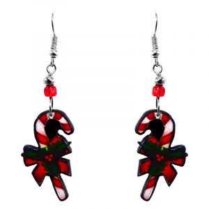 Christmas holiday themed candy cane acrylic dangle earrings with beaded metal hooks in red, white, and green color combination.