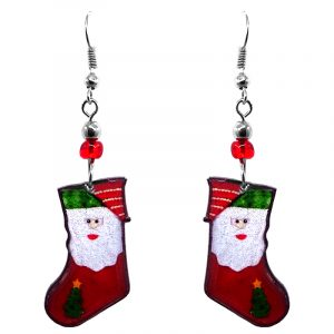 Christmas holiday themed Santa stocking acrylic dangle earrings with beaded metal hooks in red, green, and white color combination.
