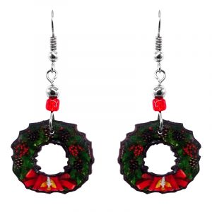 Christmas holiday themed wreath acrylic dangle earrings with beaded metal hooks in dark green and red color combination.