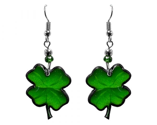 St. Patrick's Day holiday themed four leaf clover shamrock acrylic dangle earrings with beaded metal hooks in green color.