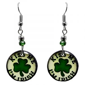 """Round-shaped St. Patrick's Day holiday themed """"Kiss Me I'm Irish"""" acrylic dangle earrings with beaded metal hooks in white and green color combination."""