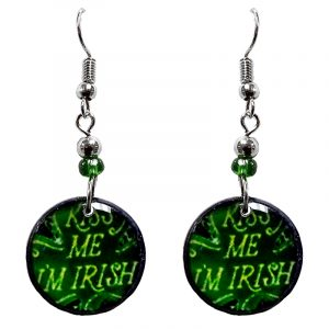 """Round-shaped St. Patrick's Day holiday themed """"Kiss Me I'm Irish"""" acrylic dangle earrings with beaded metal hooks in green color combination."""