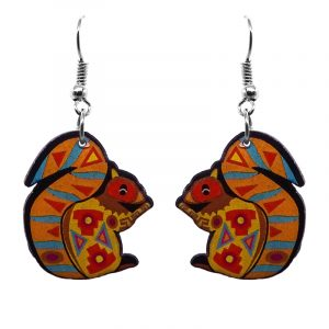 Tribal pattern squirrel acrylic dangle earrings with beaded metal hooks in orange, red, brown, and turquoise color combination.
