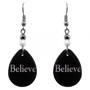 "Handmade black and white teardrop inspirational earrings with acrylic, seed beads, and metal hooks in ""Believe""."